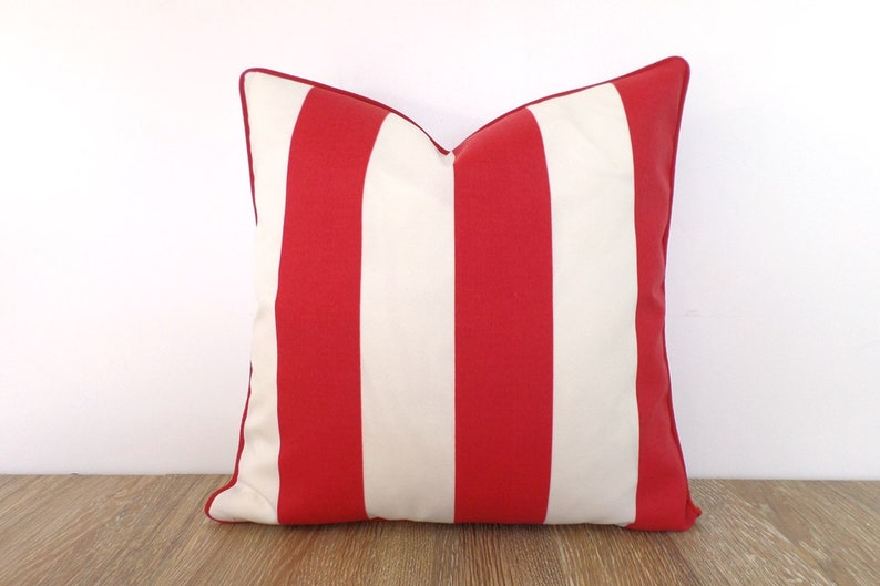 Red And White Pillow Cover 18x18 Christmas Decoration Color Block Outdoor Pillow Case Red Stripe Bench Cushion Cover Front Porch Decor