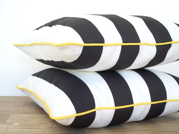 Black And White Outdoor Pillow Cover Black Outdoor Cushion Etsy