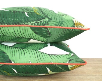 Swaying palm pillow outdoor seating, green banana leaf pillow cover 18x18 regency decor, tropical outdoor cushion, green and coral pillow