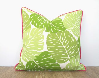 Green leaf outdoor pillow case, tropical cushion for outside lounge chair, green and pink pillow case palm leaf print, botanical pillow case
