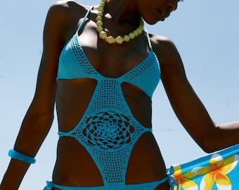 Turquoise Crochet Monokini Hippie Style, Boho Handmade Wedding One Piece, Coachella Bathing Suit, Made to Order