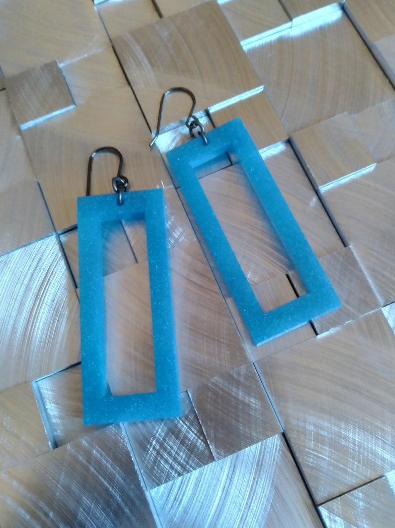 Sky blue glitter rectangle hoops