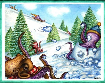 Octopus Snow Day Greeting Card