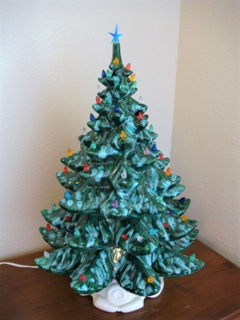 Ceramic Christmas Tree Atlantic Mold 24 Inches Tall Vintage Ceramic Tree With Colored Lightbulbs Mid Century Christmas Decor