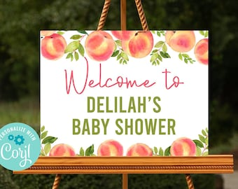 Editable Peach Welcome Sign, Peach Baby Shower, Peach Bridal Shower, Baby Shower Decorations, Printable Sign, Instant Download, Corjl, SPBS
