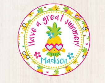 Printable Pineapple Tag, Summer Tag, End of Year, End of Year Gift, End of School, Summer Vacation Tag, School, School Gift, Summer Break
