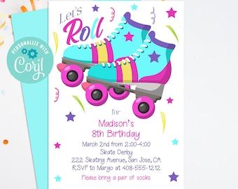 Editable Rollerskate Invitation, Skating Party, Printable Invitation, Corjl, Digital Download, Skating Birthday, Girls Birthday, RSBP