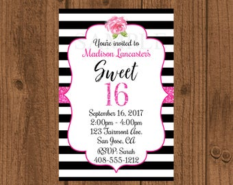 Sweet 16 Birthday Invitation, Sweet Sixteen Birthday Invitation, Sweet 16 Party, Black White Pink Sweet 16
