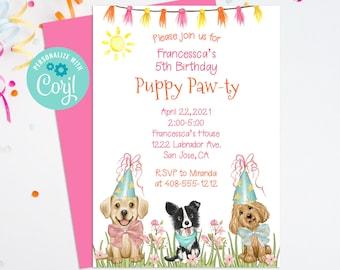 Editable Puppy Party Invitation, Dog Birthday, Dog Party, Puppy Pawty, Puppy Birthday, Corjl, Printable Invitation, Instant Download, PAWB