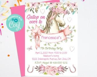 Editable Horse Invitation, Pony Party, Horse Party, Horse Birthday, Corjl, Pony Birthday Invite, Printable, Horse Invite, Instant, HPBP