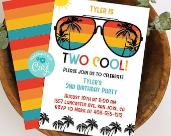 Editable TWO Cool Invitation, 2nd Birthday Invitation, Second Birthday, Invitation Template, Sunglasses Invitation, Corjl, Printable, TWOC