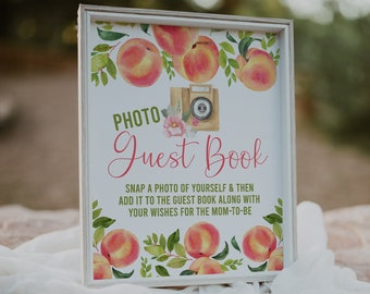 Peach Baby Shower, Photo Guest Book Sign, Baby Shower Sign, Peach Baby Shower Decorations, Printable Sign, Instant Dowload, Peaches, SPBS