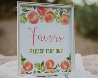 Favors Sign, Peach Baby Shower, Peach Bridal Shower, Printable Sign, Little Peach, Sweet Peach, Table Sign, Instant Download, Decor, SPBS