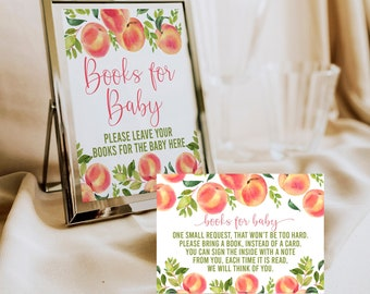 Peach Baby Shower, Books for Baby, Book Request, Baby Library, Book Instead of a Card, Printable, Instant Download, Peaches, SPBS