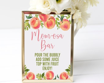 Peach Momosa Bar Sign, Peach Baby Shower, Mom-osa Bar Sign, Bubbly Bar, Mimosa Bar, Champagne Sign, Shower Sign, Instant Download, SPBS