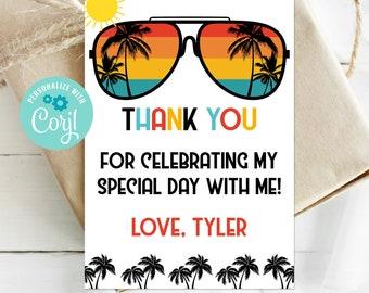 Editable One Cool Dude Favor Tag, 1st Birthday, 2nd Birthday, Two Cool, Sunglasses Thank You Tag, Boy Birthday, Corjl, Printable, ONEC TWOC
