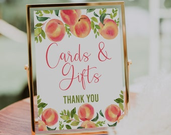 Cards and Gifts Sign, Peach Baby Shower, Little Peach, Sweet Peach, Baby Shower Decorations, Gift Table Sign, Baby Shower Sign, SPBS