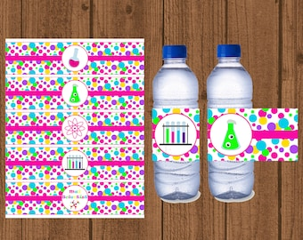Science Water Bottle Label, Mad Science Water Bottle Label, Girls Birthday Party, Science Birthday Party, Instant Download