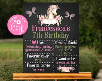 Editable Horse Chalkboard Sign, Printable Sign, Corjl, Instant Download, Horse Party, Pony Party, Horse Party Decorations, Girls Party, HPBP