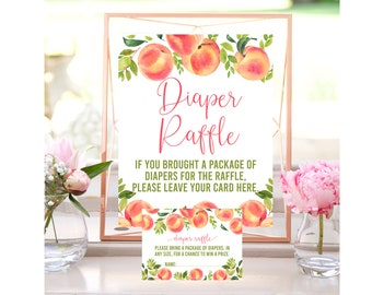 Peach Baby Shower Diaper Raffle, Diaper Raffle Card and Sign, Diaper Raffle Ticket, Printable, Baby Shower Games, Instant Download, SPBS