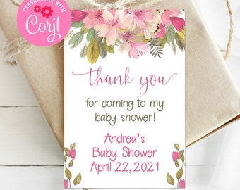Editable Floral Favor Tag, Thank You Tag, Floral Baby Shower, Pink Baby Shower, Corjl, Printable Tags, Baby Girl, Instant Download, BGBS