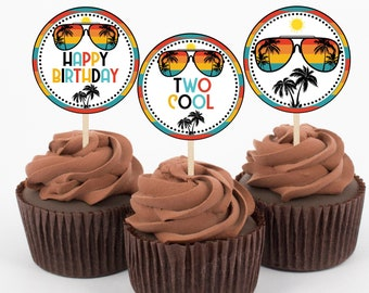 Two Cool Dude Cupcake Toppers, Second Birthday, 2nd Birthday, Boy Birthday Party, Sunglasses, Printable, Instant Download, TWOC