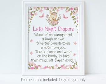 Late Night Diapers, Deer Baby Shower, Pink Deer, Floral Deer, Baby Shower Games, Late Night Nappies, Diaper Thoughts, Instant Download, LDBS