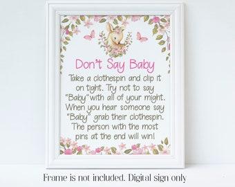 Deer Baby Shower, Don't Say Baby, Clothespin Game, Little Deer, Baby Shower Games, Pink Deer, Digital Download, Shower Sign, Floral, LDBS