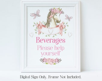 Drinks Sign, Beverage Sign, Horse Birthday, Party Decorations, Girls Birthday Party, Horse Baby Shower, Pony Party, Instant Download, HPBP