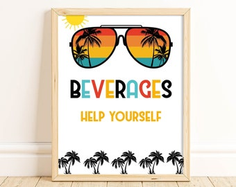 One Cool Dude Beverage Sign, Two Cool, Birthday Party Sign, 1st Birthday, 2nd Birthday, Sunglasses, Boy Birthday, Drinks Sign, ONEC TWOC
