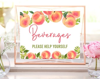 Printable Beverage Sign, Peach Baby Shower, Peach Bridal Shower, Drinks Sign, Baby Shower Decorations, Table Sign, Instant Download, SPBS
