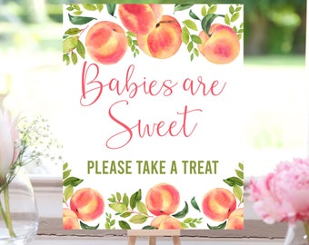 Peach Baby Shower, Babies are Sweet Please Take a Treat, Treats Sign, Little Peach, Dessert Table, Baby Shower Sign, Printable, SPBS