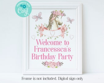Editable Horse Welcome Sign, Pony Birthday, Horse Party, Pony Party, Horse Party Decorations, Corjl, Printable Sign, Instant Download, HPBP