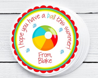 I Hope You Have A Ball Summer Tag, School Tag, End of Year Favor Tag, End of Year Gift for Class,Summer Vacation Tag, Beach Ball Tag