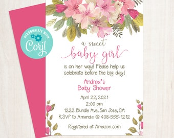 Editable Baby Girl Baby Shower Invitation, Floral Shower, Baby Shower Invite, Pink Baby Shower, Printable, Corjl, Instant Download, BGBS