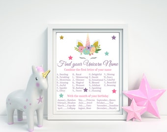 Unicorn Game, Find Your Unicorn Name, Unicorn Name Game, Unicorn Party, Unicorn Birthday, Whats Your Unicorn Name, Unicorn Printable