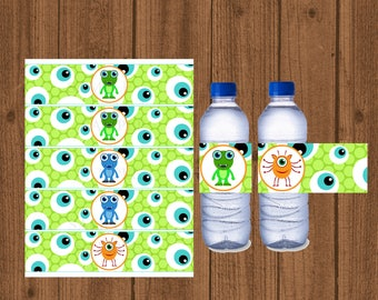 Monster Birthday Water Bottle Labels, Boys Monster Party Printable, Boys Birthday Decorations, Instant Download, Monster Party, Alien Water