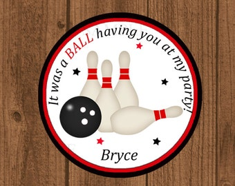 Bowling Party Birthday Favor Tag, Boys Bowling Party Favor Tag