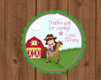 Cowgirl Party Favor Tag, Cowgirl Birthday Favor Tag, Girls Birthday Favor Tag