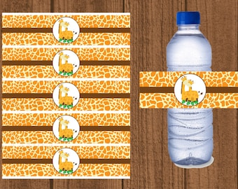 Giraffe Water Bottle Labels, Giraffe Baby Shower Water Wrapper, Safari Baby Shower Decorations, Jungle, Zoo
