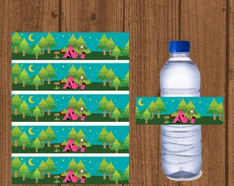Camping Water Bottle Labels, Glamping Camping Water Bottle, Glamping Decorations, Girls Camping Birthday Party Decorations, Instant Download