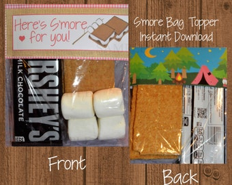 Glamping Smore, Glamping Bag Topper, Smore, Bag Topper, Glamping, Camping Party, Camping Birthday, Instant Download, Camping Smore Favor Bag