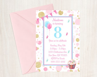 8th Birthday Party Invitation Eighth Invite Girl Pink And Gold Cupcake