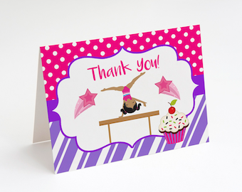 African American Cupcakes And Cartwheels Thank You Card Party Gymnastics Birthday