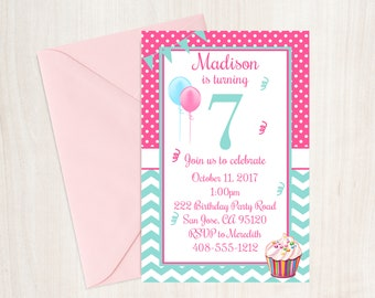 7th Birthday Invite Etsy