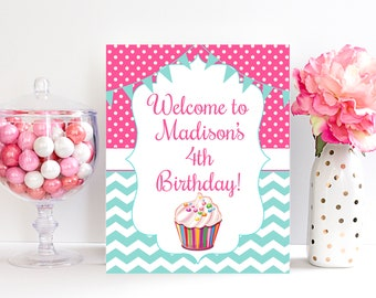4th Birthday Welcome Sign Decorations Fourth Party Four Year Old Printable 4 Years