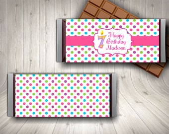 7th Birthday Party Candy Bar Wrapper Favor Personalized Seventh