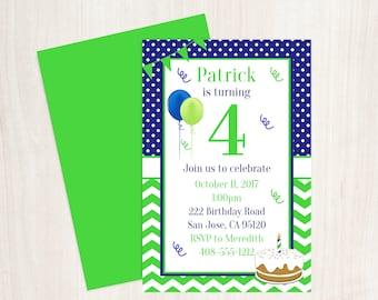4th birthday invite etsy 4th birthday printable invitation boys 4th birthday 4th birthday party 4th birthday boys birthday invitation blue and green birthday filmwisefo