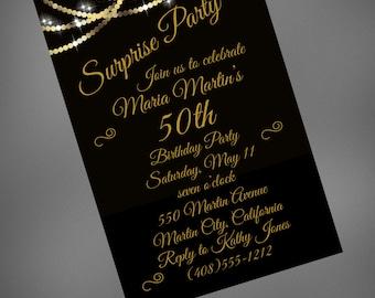 50th birthday invitation 50th birthday party fifty birthday etsy