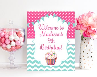 9th Birthday Welcome Sign Decorations Ninth Door Girls Party 9 Year Old